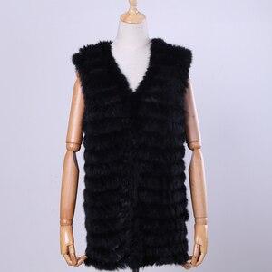 Image 2 - 2020 New Womens Genuine Rabbit Fur Vest Hand Knitted Fur Gilet Lady Natural Fur Waistcoat Sleeveless Real Fur Coat Jacket