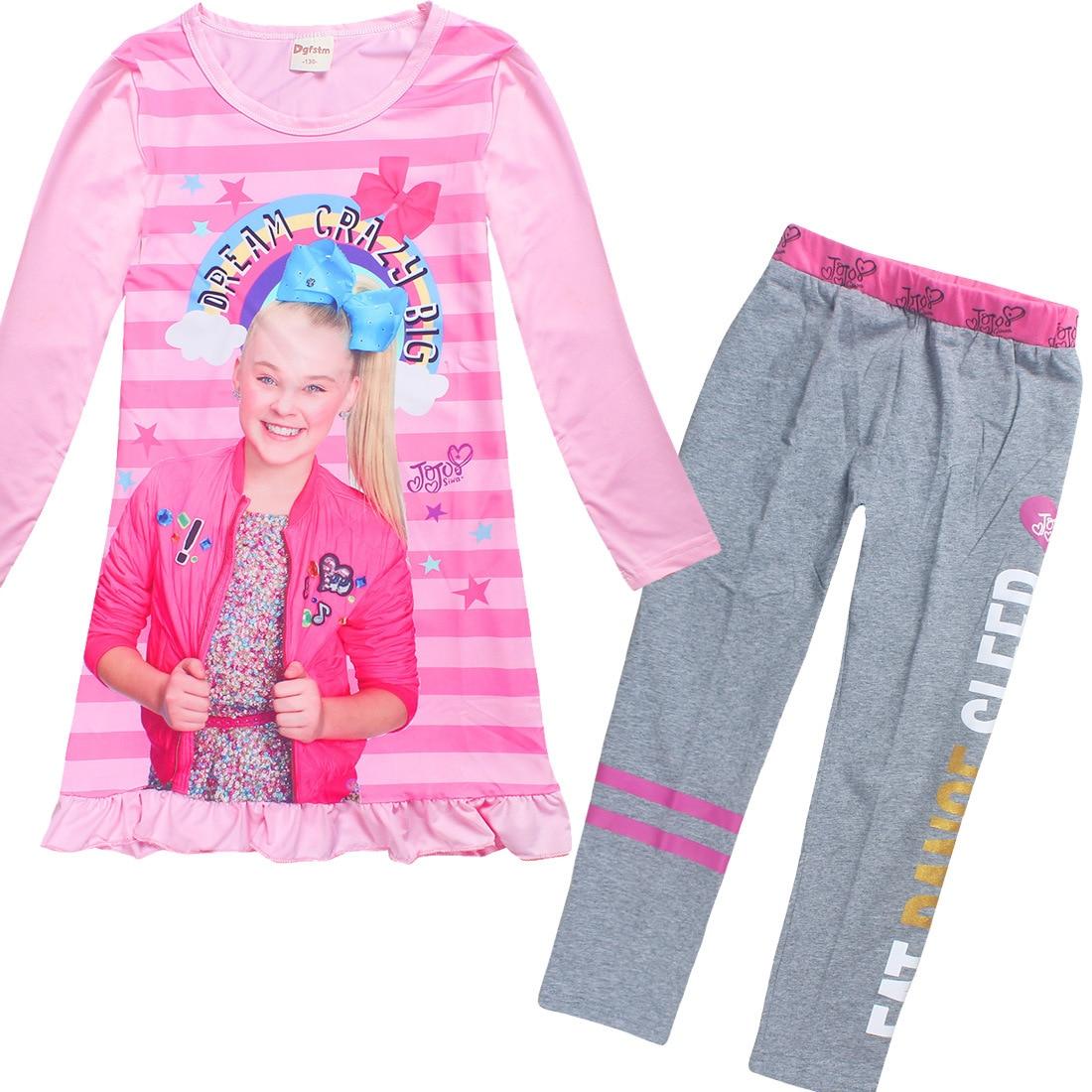 7ba1a01d1e US $8.24 25% OFF|2018 Pajamas for Girls Long Sleeve Dresses Cotton Pants  Jojo Siwa Clothing Set Childrens Fancy Dress Moana Trolls Teens Clothes-in  ...