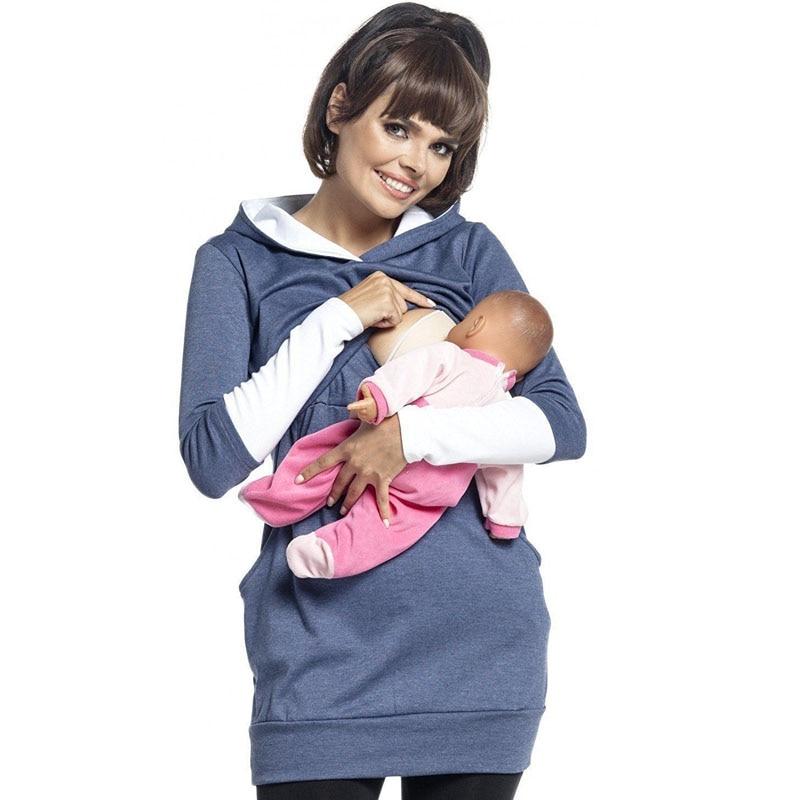 все цены на Pregnancy Feeding Tee Nursing Tops Maternity Hoodies Breastfeeding Clothes For Pregnant Women Outwear Autumn Gravidas Clothing онлайн