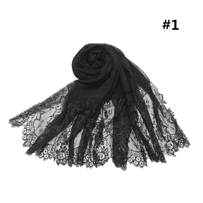 The new hot fashion chiffon hijab scarf plain solid color shawl lace headwrap for ladies
