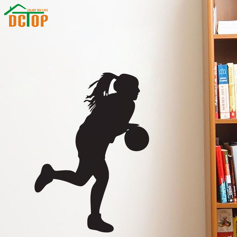 online get cheap basketball wall papers aliexpress com alibaba dctop girls basketball silhouette wall art decals home decoration living room decorative sticker children wall paper