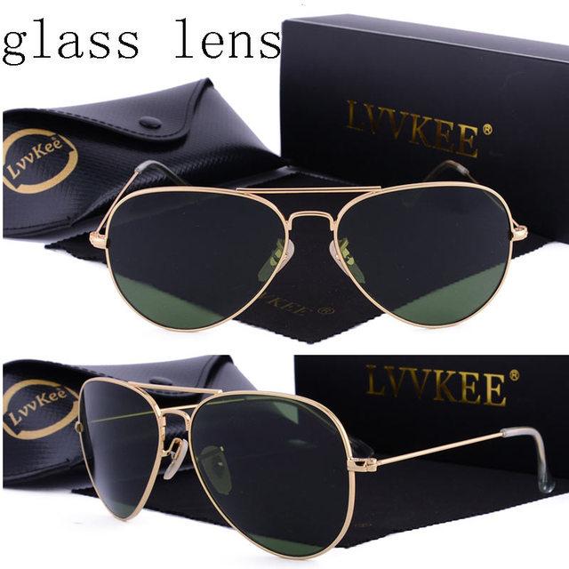 Роскошные классические стеклянные линзы солнцезащитные очки пилота солнцезащитные очки-авиаторы мужчины женский 58 мм Óculos gafas-де-сол UV400 предотвратить лучей оттенков