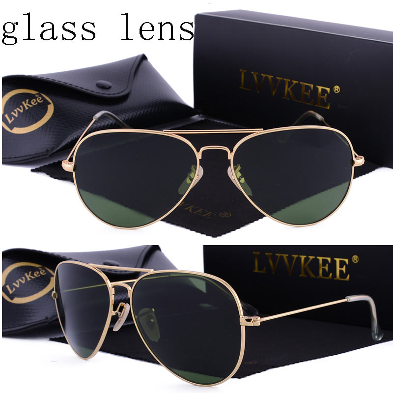 Luxury Classic glass lenses sunglasses Pilot Aviator sunglasses men female 58mm Gafas oculos de sol uv400 Prevent rays shades