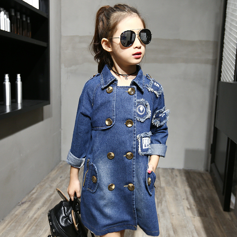 2018 New Girl Denim Fashion   Trench   Coat Children Top Teen Letter Double-breasted Girls Jackets Clothing For 4 6 8 10 12 Years