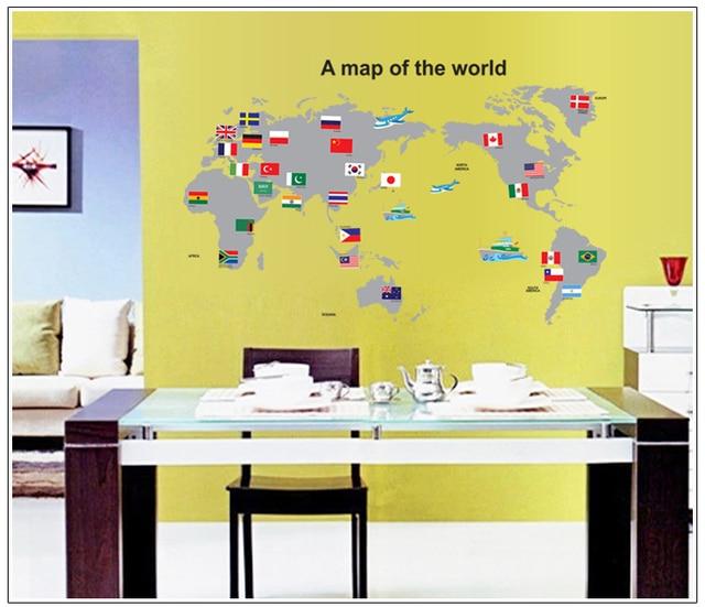 Map of the world Teaching aids DIY Wall Sticker Nursery Kids Room ...