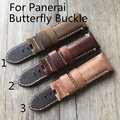 Nova pam 24mm cáqui marrom do vintage itália calf leather strap pulseira pulseira sem butterfly fivela para pam/panerai com o logotipo