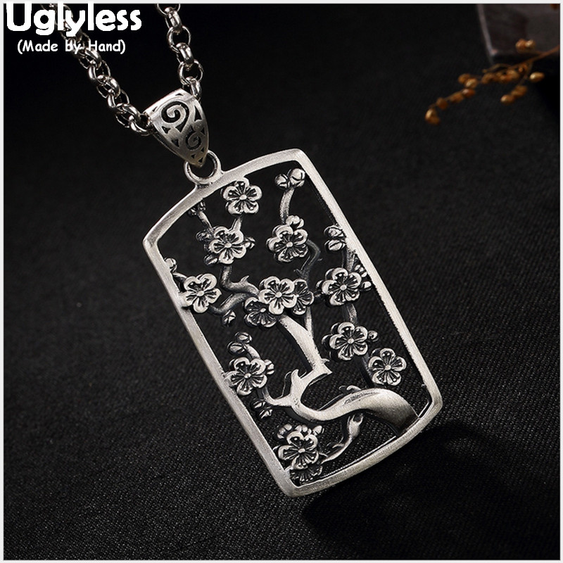 Uglyless Real 999 Fine Silver Jewelry for Women Hollow Handmade Plum Tree Necklace without Chain Flower Bijoux Square PendantUglyless Real 999 Fine Silver Jewelry for Women Hollow Handmade Plum Tree Necklace without Chain Flower Bijoux Square Pendant