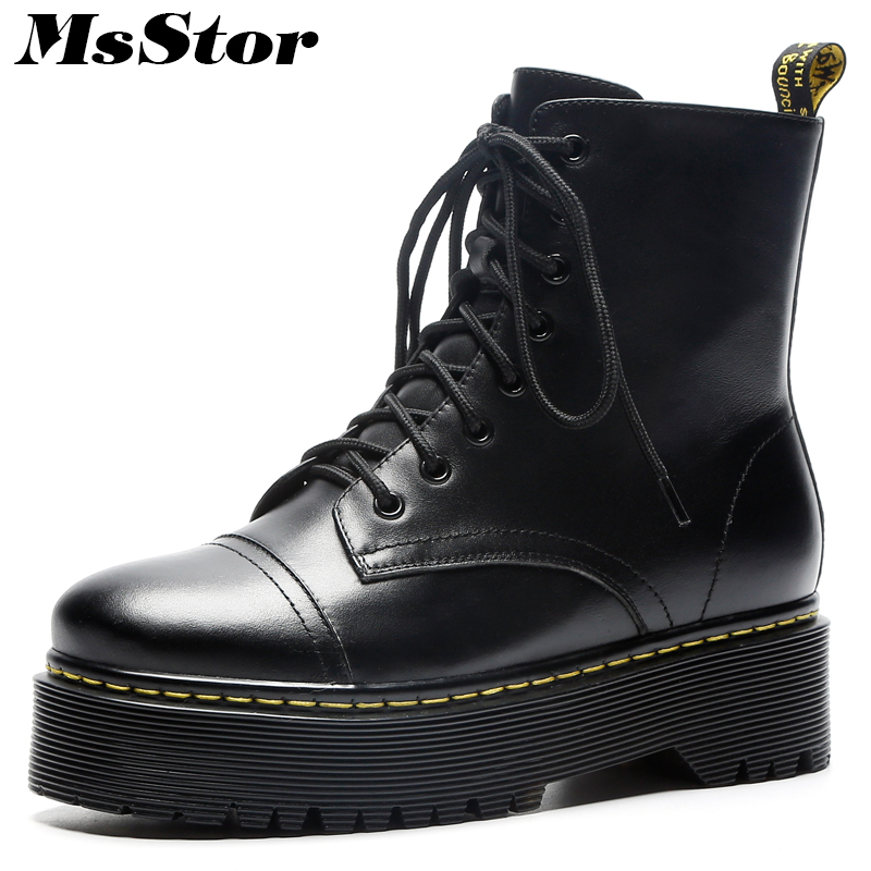 MsStor Women Boots Fashion Metal Zipper Lace Up Ankle Boots Women Shoes Round Toe Thick Bottom Flat Boot Shoes For Woman Girl msstor women boots round toe wedges ankle boots women winter shoes thick bottom lace up short plush black boot shoes for woman