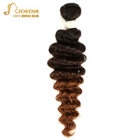 Joedir Brazilian Human Hair Weave Bundles Straight Omber Color 1B/4/30 12 to 22 Inches Non Remy Hair Extension