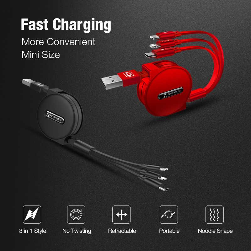 Cafele 3 em 1 retrátil micro cabo usb tipo c carregamento rápido cabo usb para huawei iphone xiaomi samsung 120cm sincronização de dados