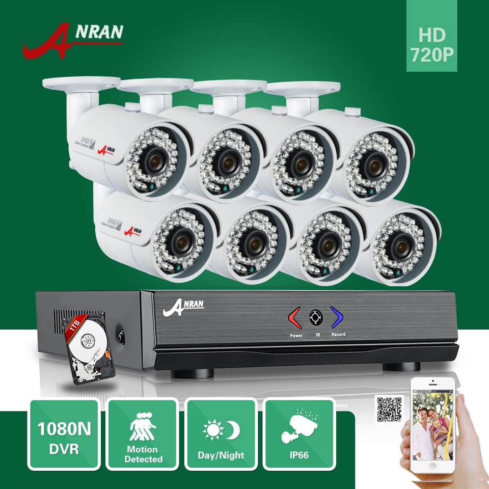 Plug Play ANRAN 8CH HDMI HD AHD DVR 1TB HDD 1800TVL 720P Waterproof Outdoor 36IR Night