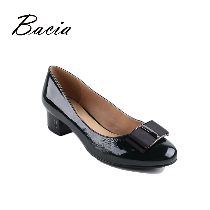 Bacia Leather Pumps Dark Green Fashion Handmade Shoes Fow Women Luxury Patent Cowhide Oxford Shoes Casual Office Wear VB023