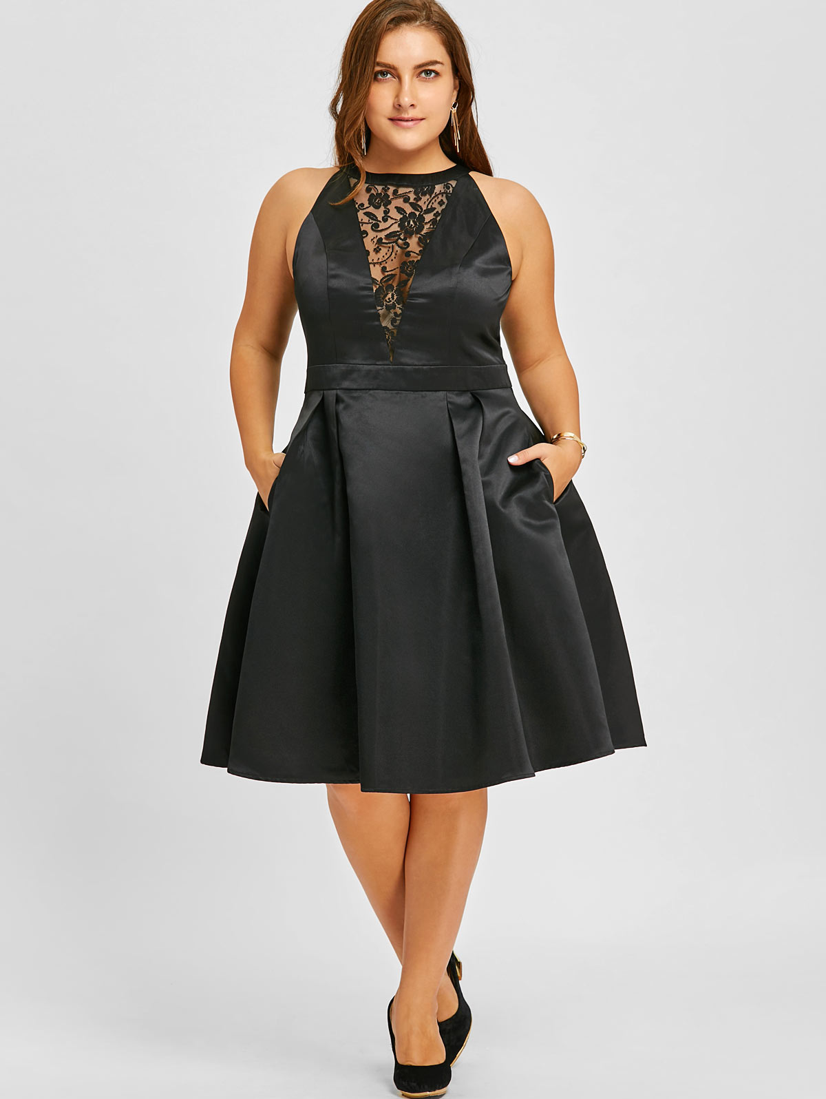 Wipalo Sexy Women Large Size Lace Insert Sleeveless Swing Dress Ladies O-Neck Party Hollow Out Vestidos Female Plus Size 5XL