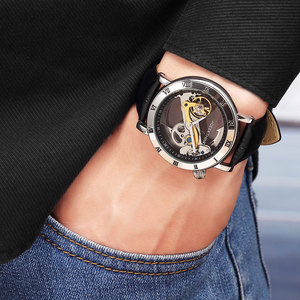 Image 3 - GEEKTHINK Fashion Top brand Skeleton Tourbillon automatic Watch Men Mechanical Skeleton Genuine Leather strap men self wind male