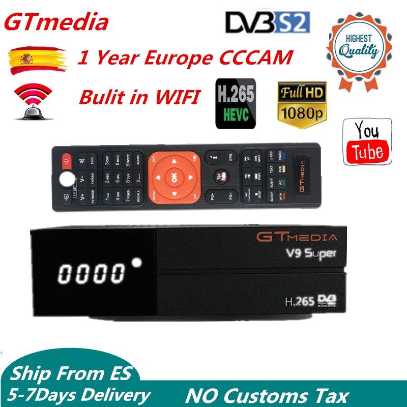 1 Year Europe 7 Clines GTMedia V9 Super Upgrade Freesat cccam Digital Satellite TV Receiver tv