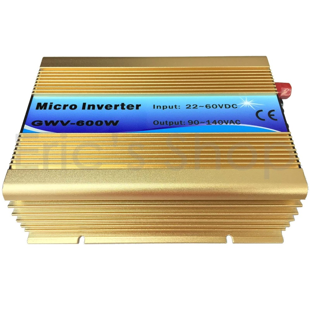 Grid Tie Inverter 500W DC22V-60V to AC110V Pure Sine Wave Inverter Golden Color Fit for 6cells and 72cells Solar Panel solar power on grid tie mini 300w inverter with mppt funciton dc 10 8 30v input to ac output no extra shipping fee