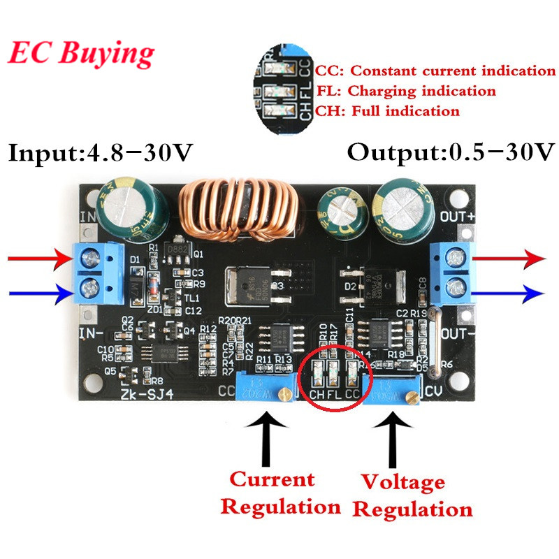 Adjustable Step Up Step Down Module CC CV Power Supply Module DC DC Solar Charger Charging Controller 4.8 to 30V