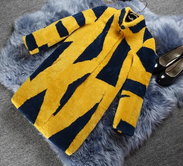 Free Ship 100% Real Fur coat women double-faced 2016 Fall Winter new female long sheep fur shearing M-XXL Plus Size bump color