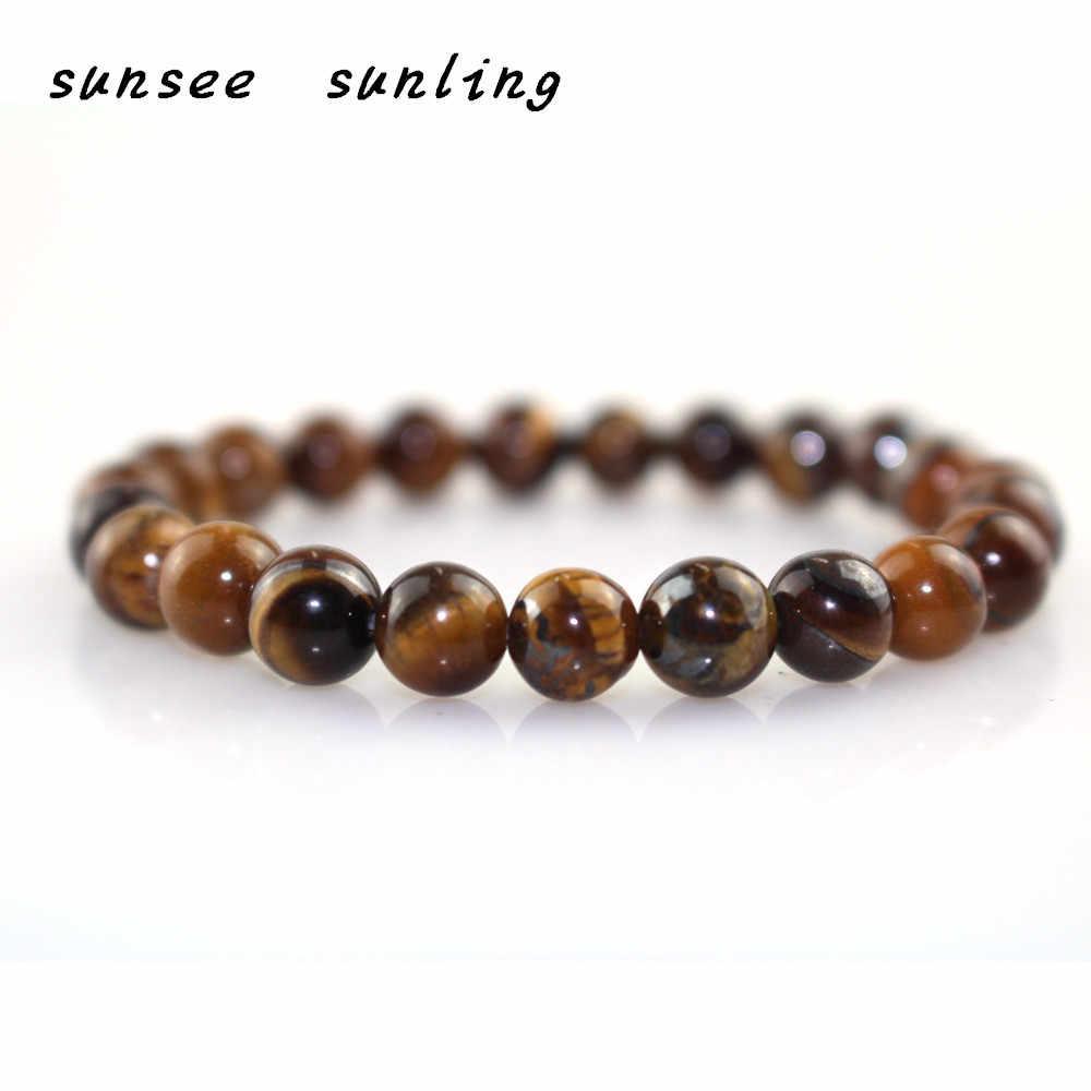 Pulsera de cuentas de Ojos de tigre de piedra Natural minimalista amuletos de meditación de Buda obsidiana para hombres joyería de Yoga Pulseira Homme