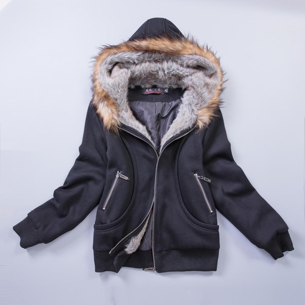 Американский размер, S-3XL, улучшенная качественная женская куртка, весеннее зимнее пальто, толстовка с капюшоном из меха енота, женская одежда#3002 - Цвет: Black
