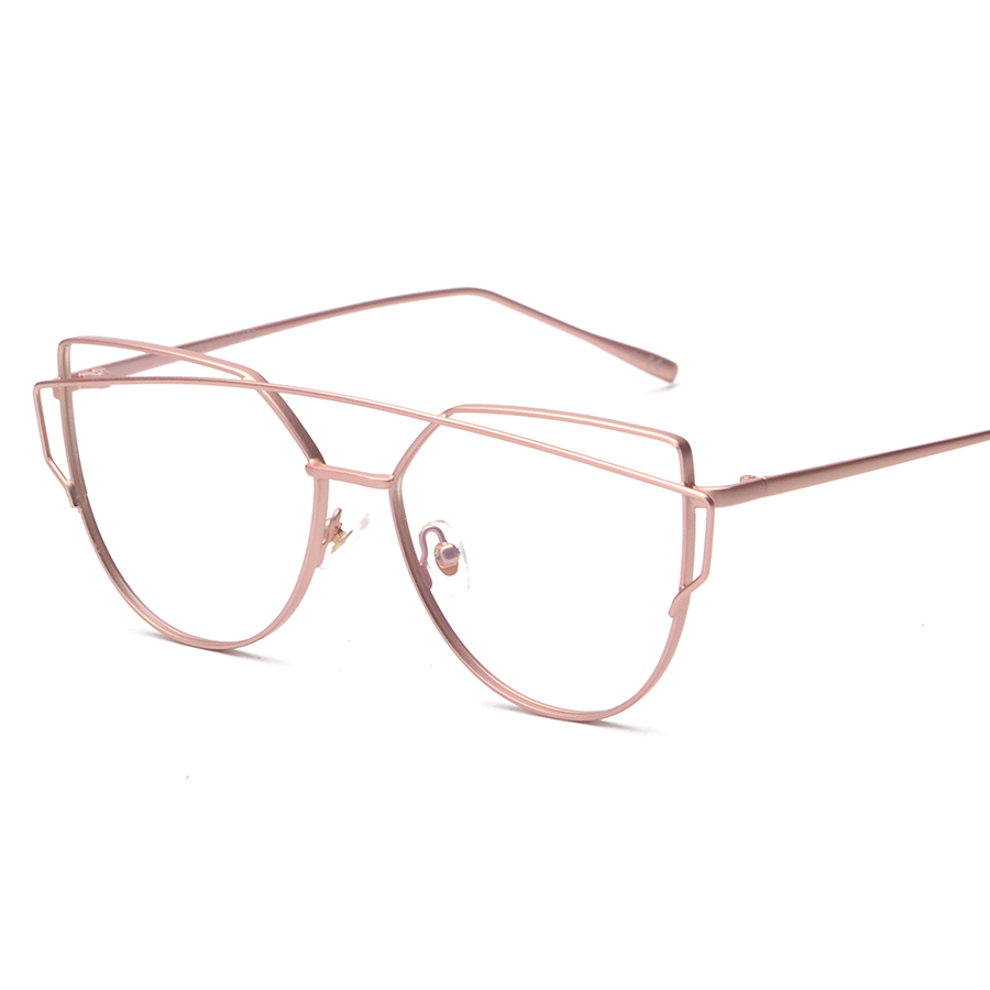 2016 clear glasses women luxury brand designer eyeglass frame vintage gold rimmed glasses men cat eye