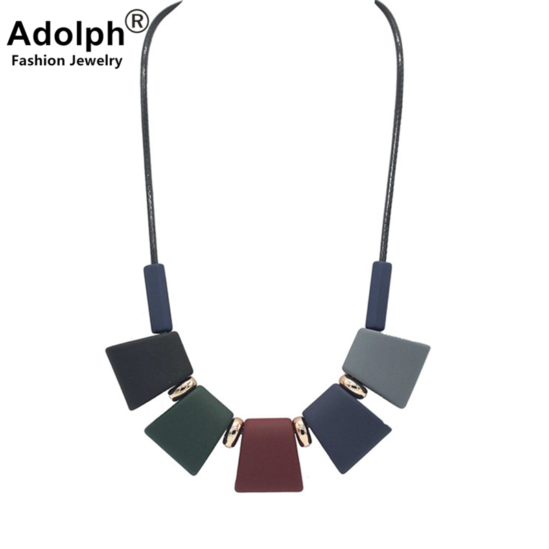 SALE ADOLPH Jewelry Geometry Resin Choker Necklace Woman New Beads Statement Necklaces & pendants Fashion Trendy Accessories Hot
