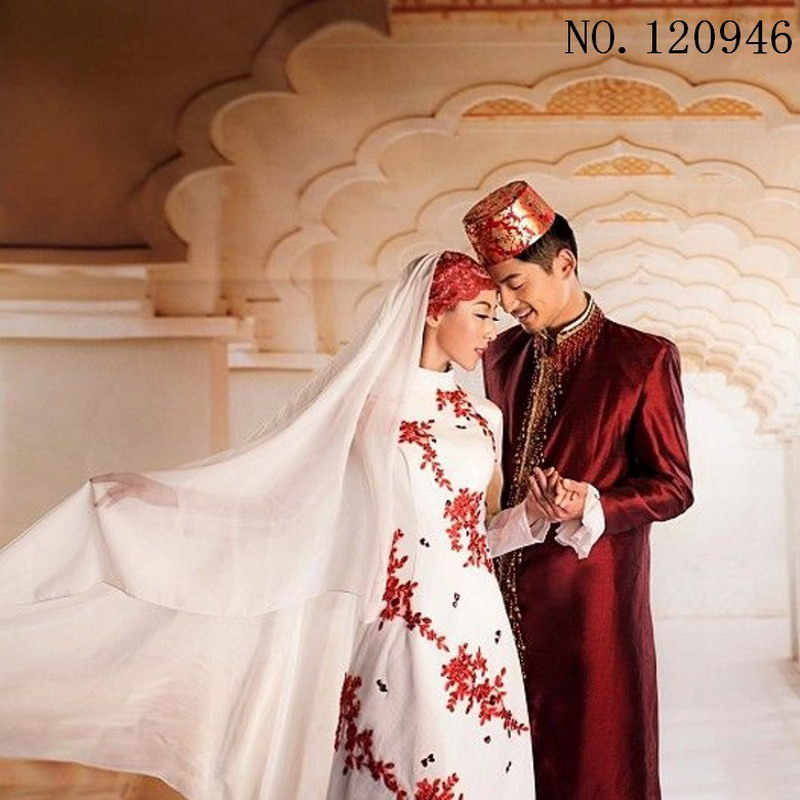 Custom muslim wedding dress for bride and groom arabic for Cheap muslim wedding dresses