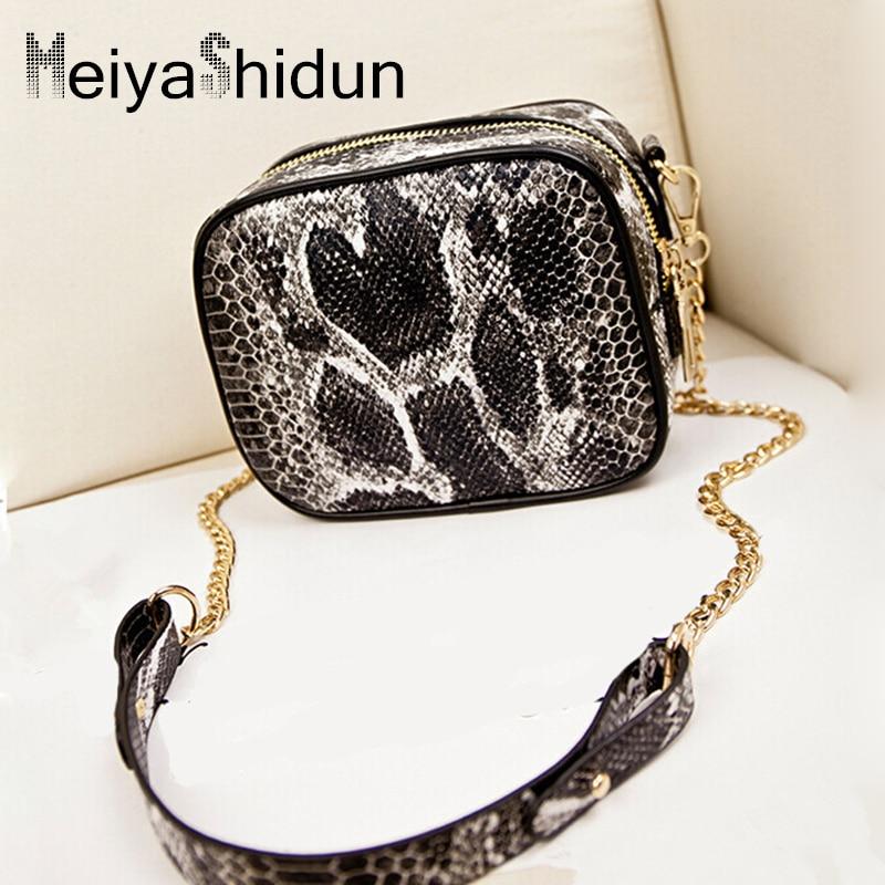 все цены на MeiyaShidun Fashion Women Messenger Bag Snake Genuine leather mini Crossbody Bags For Girls Brand Designer Chain Handbags Bolsas