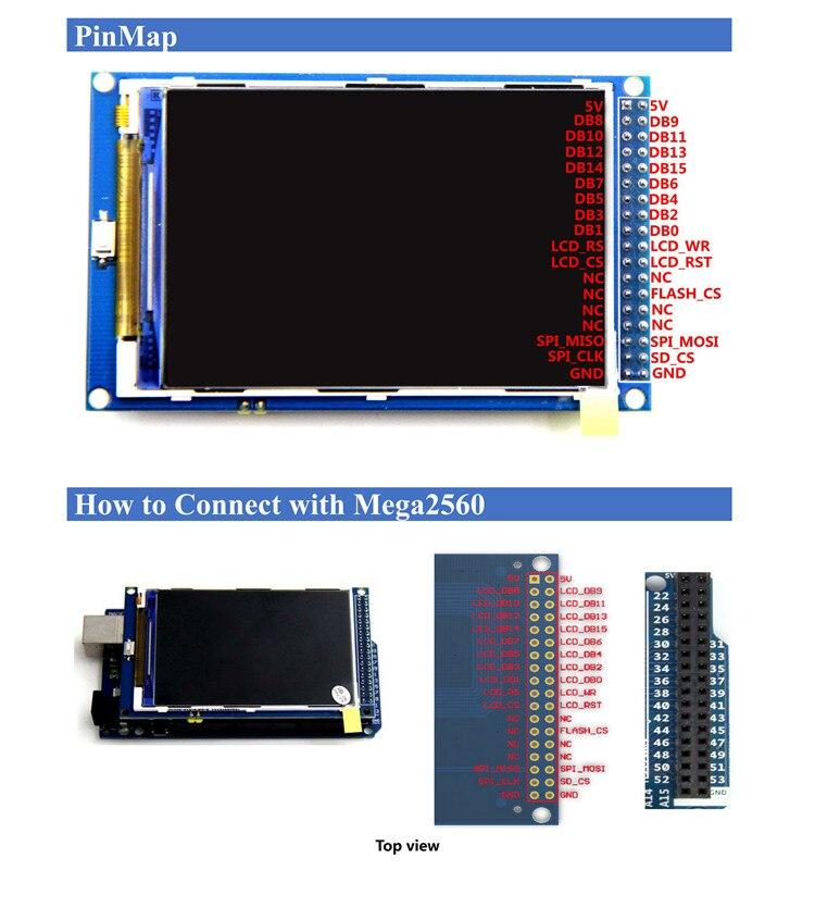 Spedizione gratuita! Modulo schermo LCD TFT da 3.5 pollici Ultra HD 320X480 per scheda Arduino MEGA 2560 R3