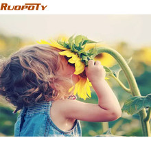RUOPOTY Framed Girl Flowers DIY Painting By Numbers Acrylic Paint By Numbers Modern Wall Art Picture Canvas Painting Home Gift(China)