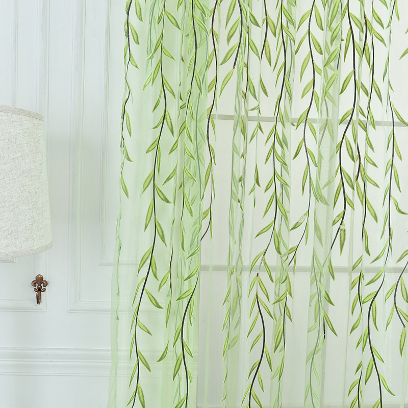 Nye Cute Willow Shape Offset Gardiner til stuen Cortinas Green Purple Home Decor Gardiner er friske og enkle