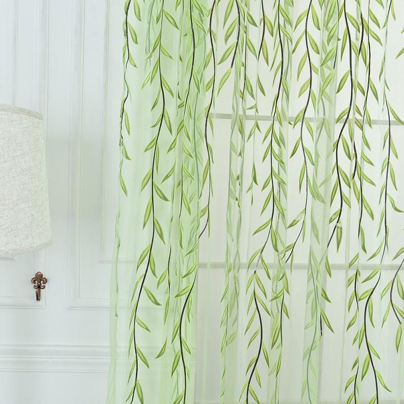 Nieuwe leuke wilgvorm offset gordijnen voor de woonkamer Cortinas groen paars Home Decor gordijnen zijn vers en eenvoudig