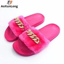 AoXunLong Hausschuhe Frauen Pelzrutschen Hause Hausschuhe Mode Diamant Shiny Schuhe Frau Rosa Große Größe 36-41 Zapatos Mujer Pantoletten