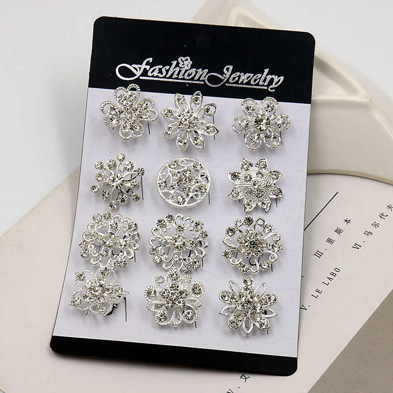 baiduqiandu 12 Mixed in a Card Silver Color Plated Crystal Rhinestones Flower Small Brooch Pins for Women