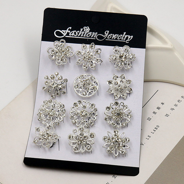 baiduqiandu 12 Mixed in a Card Silver Color Plated Crystal Rhinestones Flower Sm