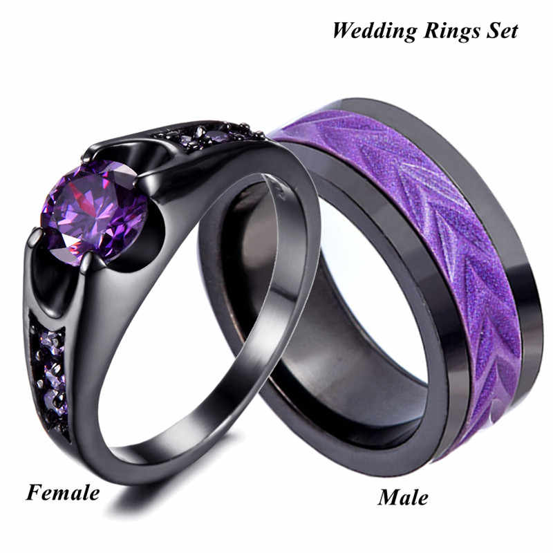 His And Hers Engagement Ring Amthyst Womens Rings Mens Stainless