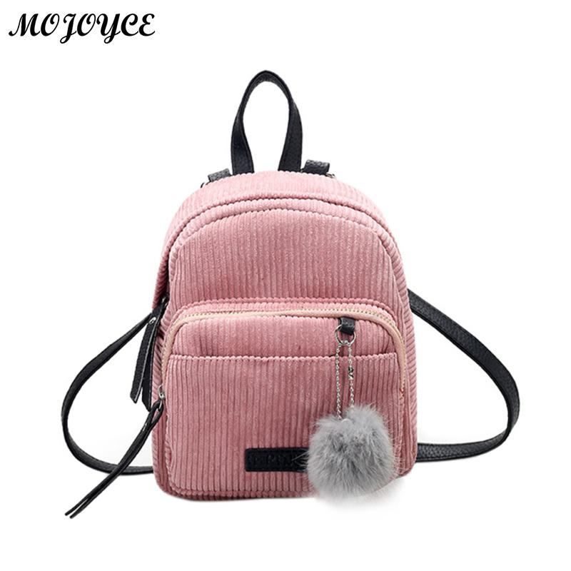 Mini Women Backpacks Solid Fashion School Bag For Teenage Girls Fur Ball Solid Color Corduroy Back Pack Candy Color Travel Bags school backpacks for teenage girls canvas women backpacks fashion school bags schoolbag satchel student book bag mochilas