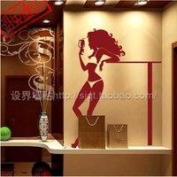 セクシーな美容装飾バー/ステッカー/美少女ビリヤードルームktv装飾ステッカー/ガラススティック