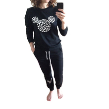 New Autumn 2016 Brand Tracksuit For Women Ladies Casual Cute Cartoon Sweatshirt and Long Pants 2 piece Hoodies Set Black Gray
