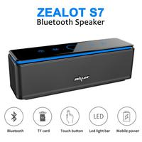ZEALOT S7 Wireless Bluetooth Speaker Touch HIFI Waterproof Speaker TF Card Subwoofer Portable Sports Outdoors Call Phone Speaker