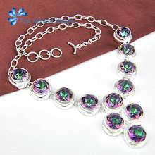Venta caliente ronda Sintético rainbow mystic topaz crystal Silve Plateado collares de Cadena para las mujeres joyería de la boda collar N0540