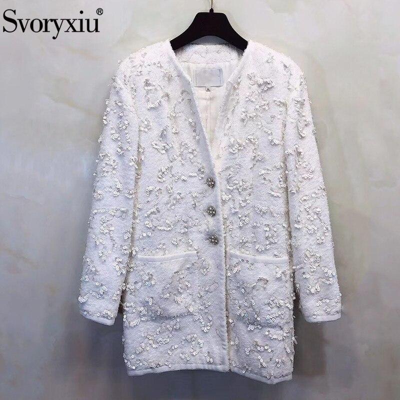 Svoryxiu Designer automne hiver luxueux Sequin blanc pardessus Outwear femmes de haute qualité bouton laine mélange veste manteau