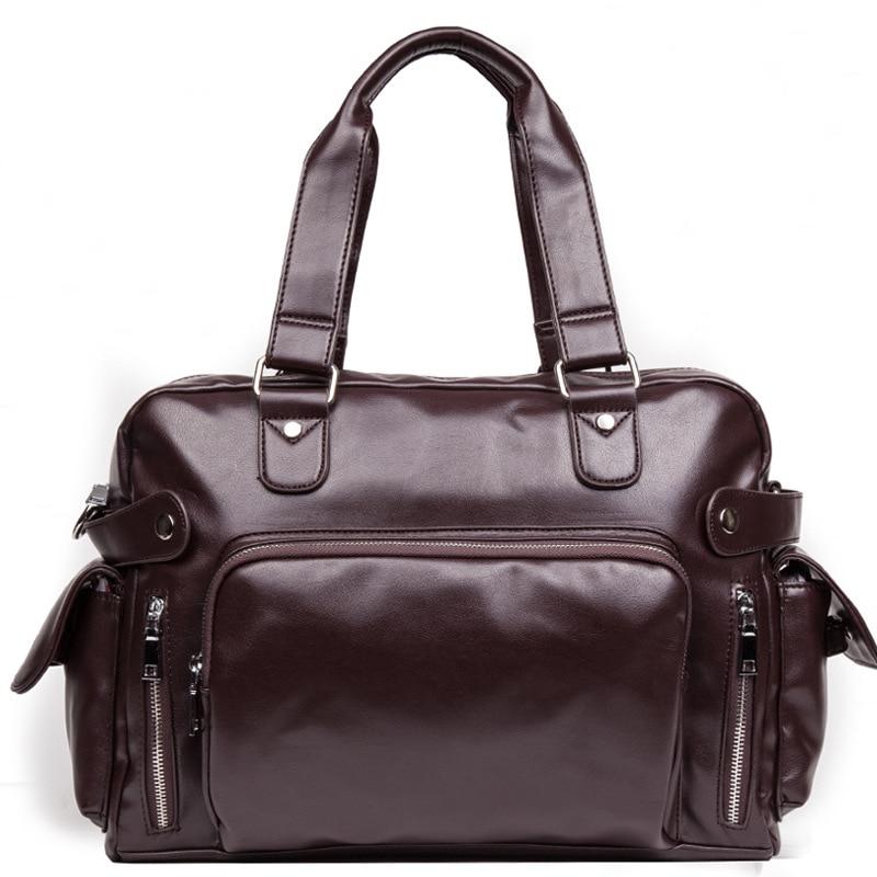 2Colors Men Large Leather Duffle/Travel Bags Luggage Handbag Shoulder Bag High-Capacity Cylinder Casual