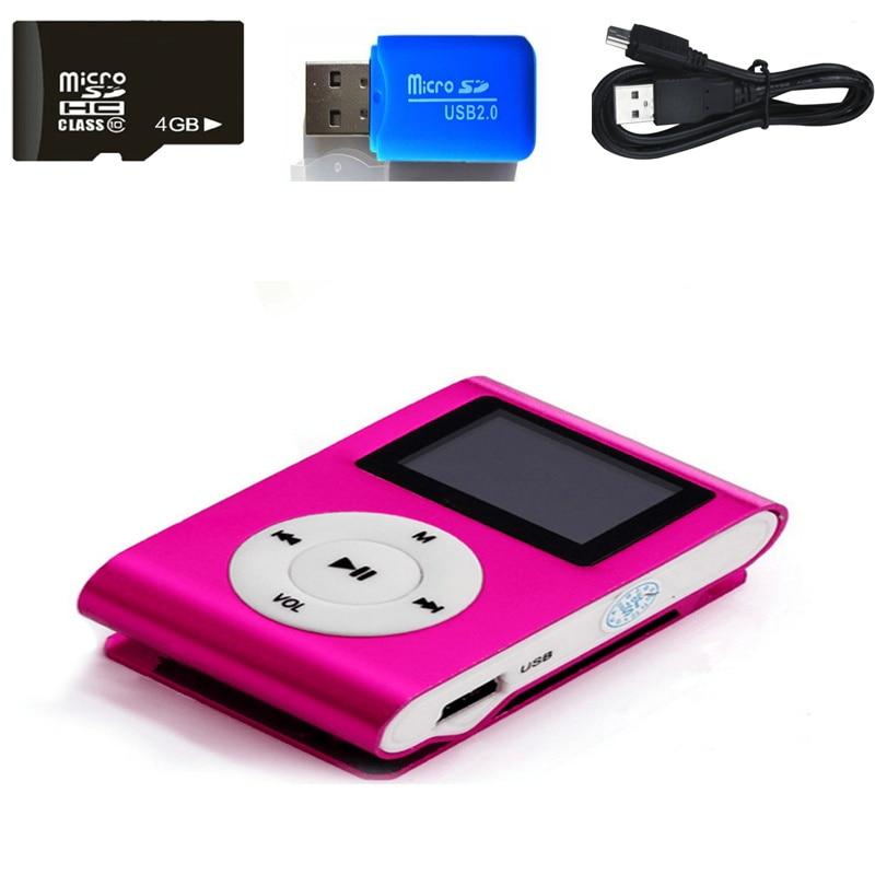 4 ГБ памяти автомобиль Mini USB Клип ЖК-дисплей screenmp3 музыкальный плеер Поддержка MP3-плееры линии передачи данных USB наушники Спорт метал плеер
