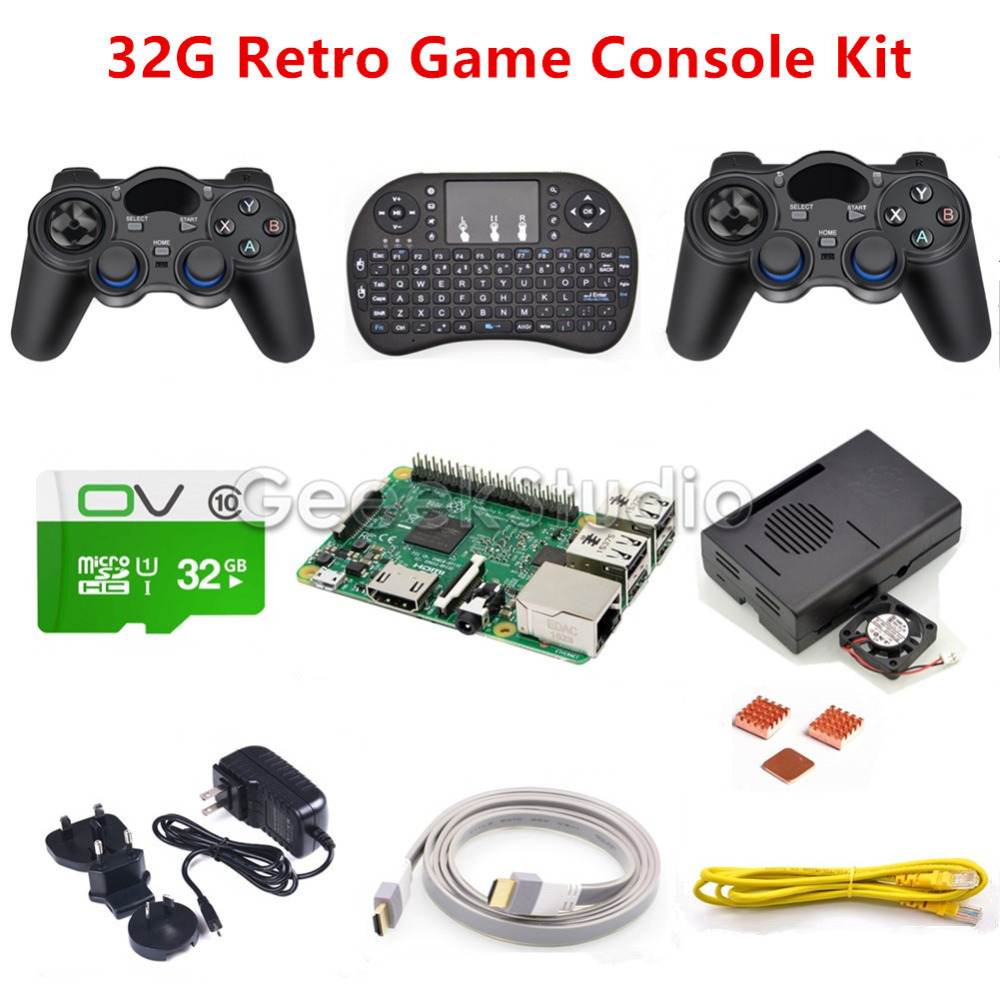 Raspberry Pi 3 Model B 32GB RetroPie Game Kit with Wireless Controllers Gamepad Joypad Joystick стоимость
