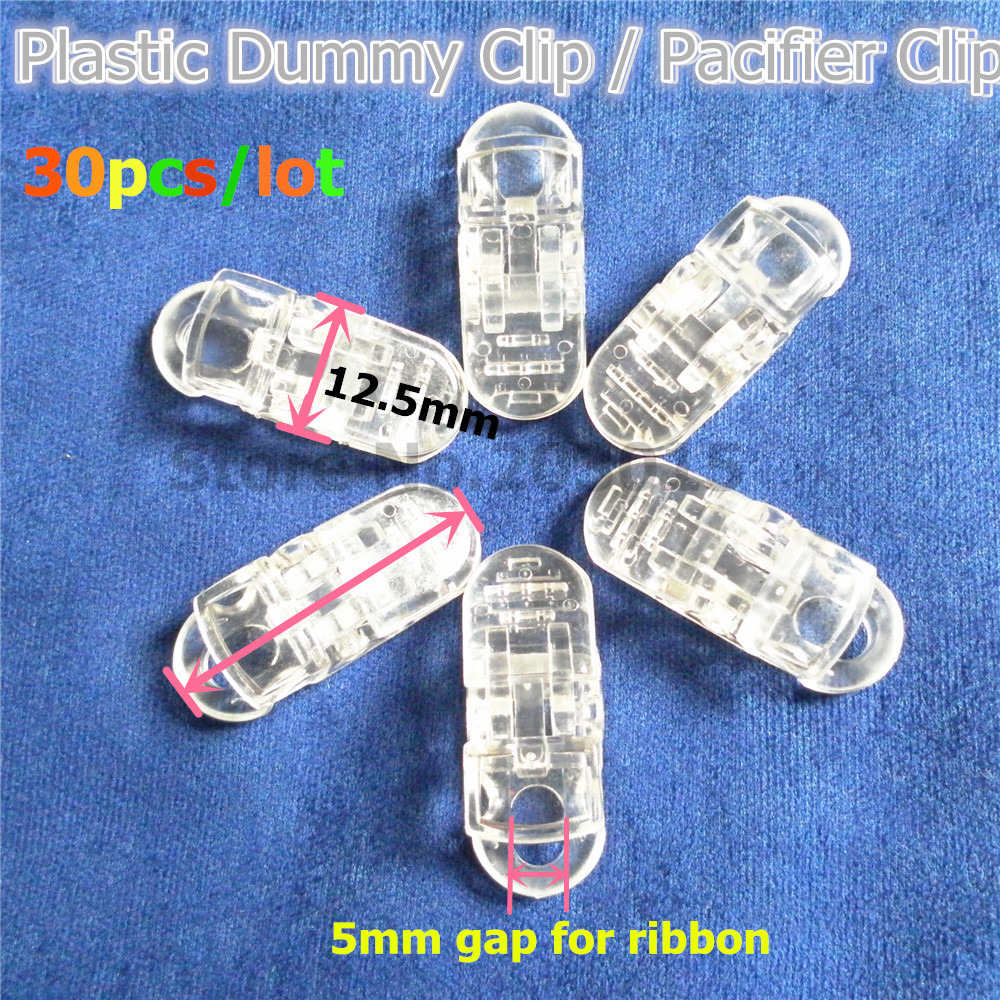 Chenkai 30pcs Clear Plastic Pacifier Dummy Clips DIY Transparent Alligator Baby Suspender Lanyard Chain Holder Toy Clip