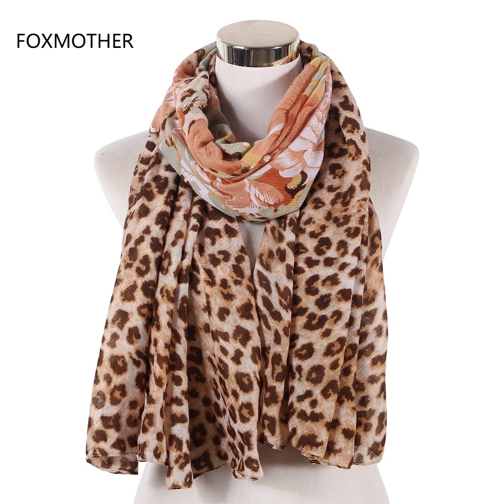 FOXMOTHER New Fashion Winter Brown Floral Leopard   Scarf     Wrap   Muslim Hijab   Scarves   For Womens Ladies