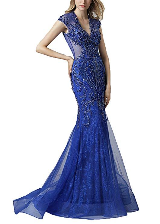 2019 Royal Blue Long V Neck Evening Dresses For Juniors Mermaid Beads Formal Dresses Formal Dress Women Elegant Evening Gown