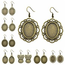 5 Pairs Fit 13x18mm Oval Shape Glass Cabochon Antique Bronze Color Zinc Alloy Dangle Earrings Hooks Cabochon Base Setting