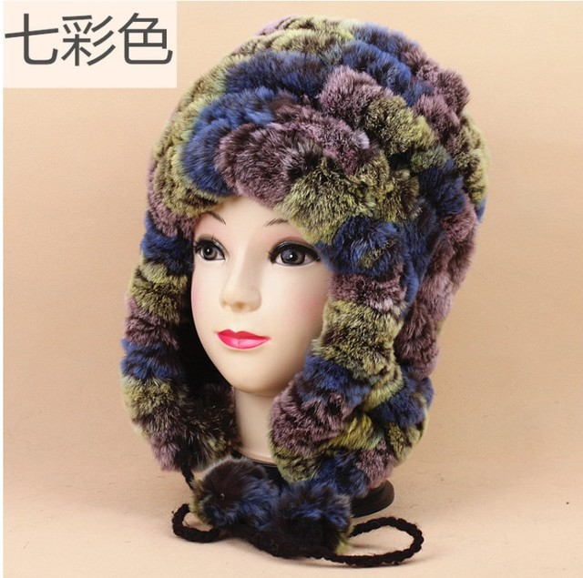 24fbaf5a00338 Luxury Autumn Winter Women s Genuine Real Knitted Rex Rabbit Fur Hats  Handmade Lady Warm Caps Female